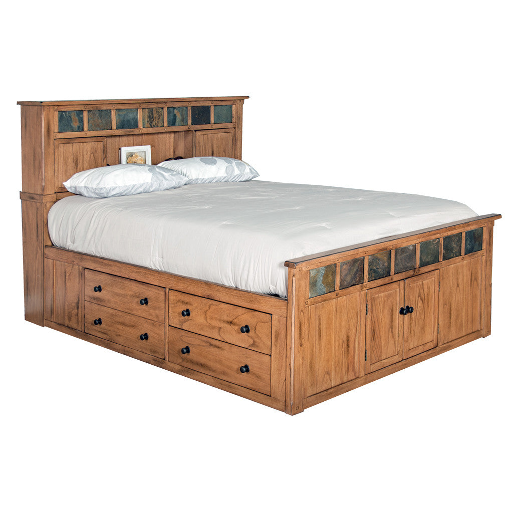 ... SD 2334RO SQ   Sedona Rustic Petite Storage Bed   Queen Size   Oak ...