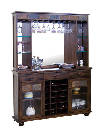 "SD-2413DC - 55"" Santa Fe Rustic Birch Back Bar Hutch and Server - Oak For Less® Furniture"
