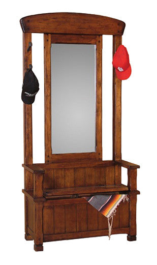 SD-2537DC2 - Santa Fe Rustic Hall Tree with Mirror & Bench w/ storage - Oak For Less® Furniture