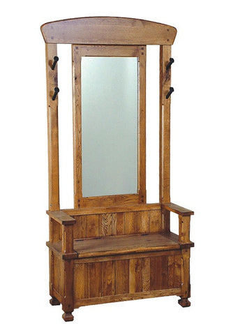 SD-2537RO - Sedona Rustic Oak Hall Tree with Mirror & Bench w/ storage - Oak For Less® Furniture