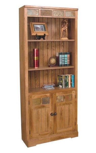 SD-2862RO-BD - Sedona Rustic Oak Bookcase with Lower Doors - Oak For Less® Furniture