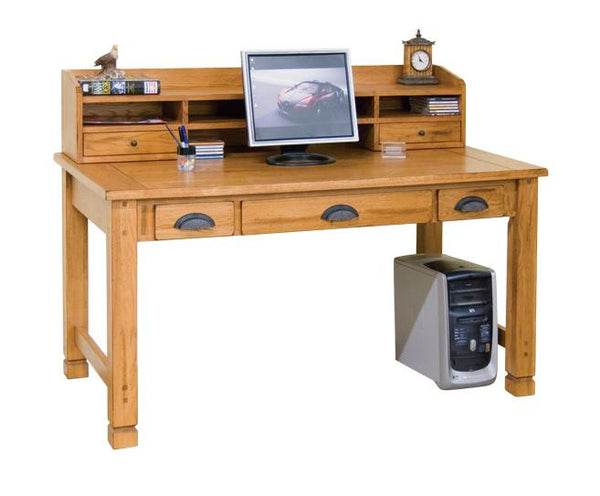 "SD-2865RO - 58"" Sedona Rustic Oak Laptop Writing Desk with SD-2865RO-H Small Hutch - Oak For Less® Furniture"