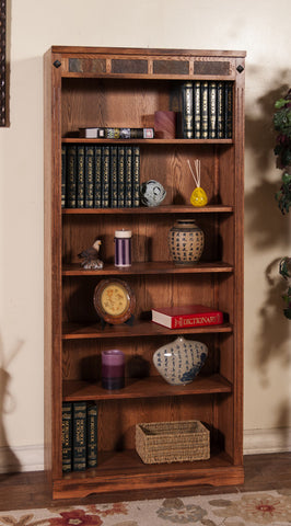 "SD-2952RO-72 - Sedona Rustic Oak 72"" h Bookcase - Oak For Less® Furniture"