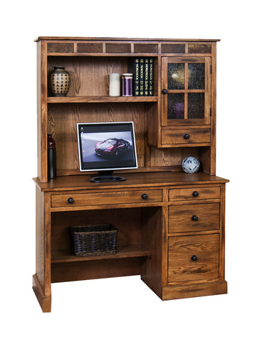 "SD-2968RO-DandH - 49"" Sedona Rustic Oak Computer Desk with Hutch - Oak For Less® Furniture"