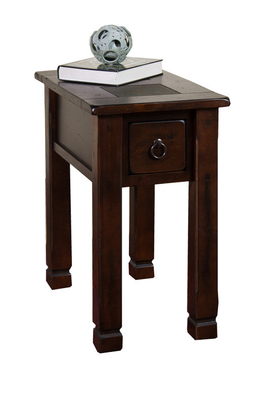 SD 3143DC CS   Santa Fe Rustic Birch Chairside Table With Slate Inlay Top