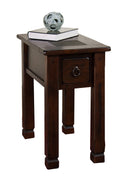 SD-3143DC-CS - Santa Fe Rustic Birch Chairside Table with Slate Inlay Top - Oak For Less® Furniture