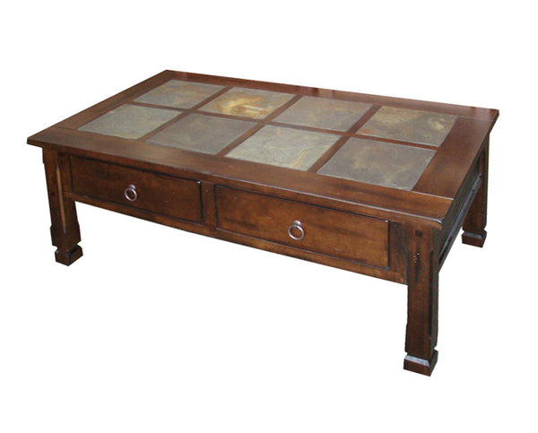 Sd 3143dc Santa Fe Rustic Birch Coffee Table With Slate Inlay Top