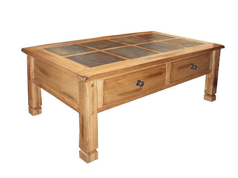 SD3143RO Sedona Rustic Oak Coffee Table with Slate Inlay Top