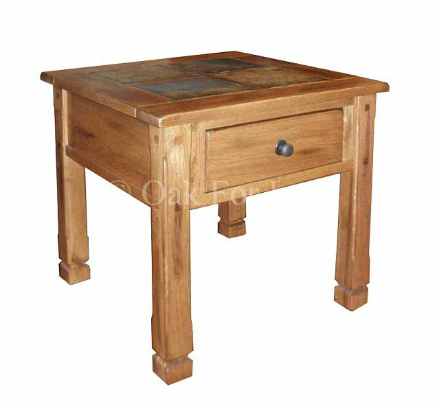 "SD-3144RO-2 - 26"" Sedona Rustic Oak End Table with Slate Inlay Top - Oak For Less® Furniture"