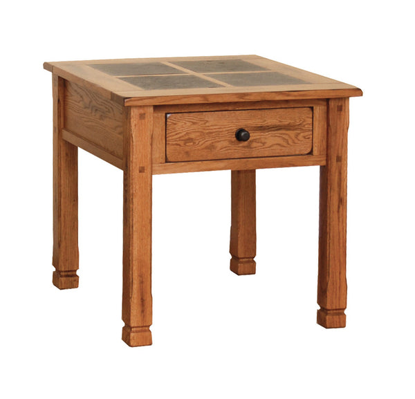 "SD-3144RO - 28"" Sedona Rustic Oak End Table with Slate Inlay Top - Oak For Less® Furniture"