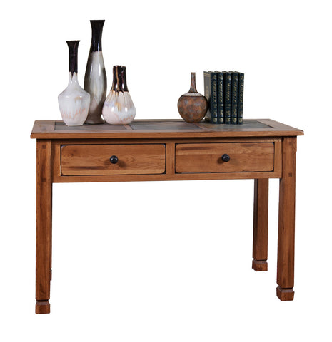 SD-3145RO Sedona Rustic Oak Sofa Table with Slate Inlay Top