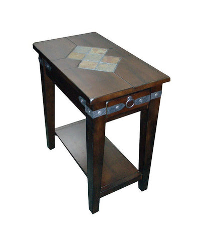 SD 3160DC CS   Santa Fe Rustic Birch Chairside Table With Slate Inlay Top