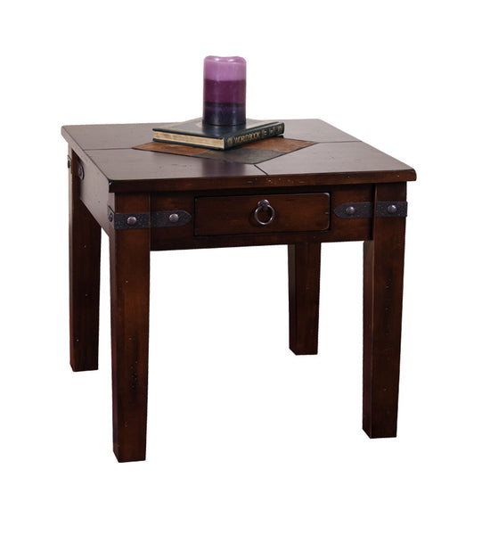 Sd 3160dc E Santa Fe Rustic Birch End Table With Slate