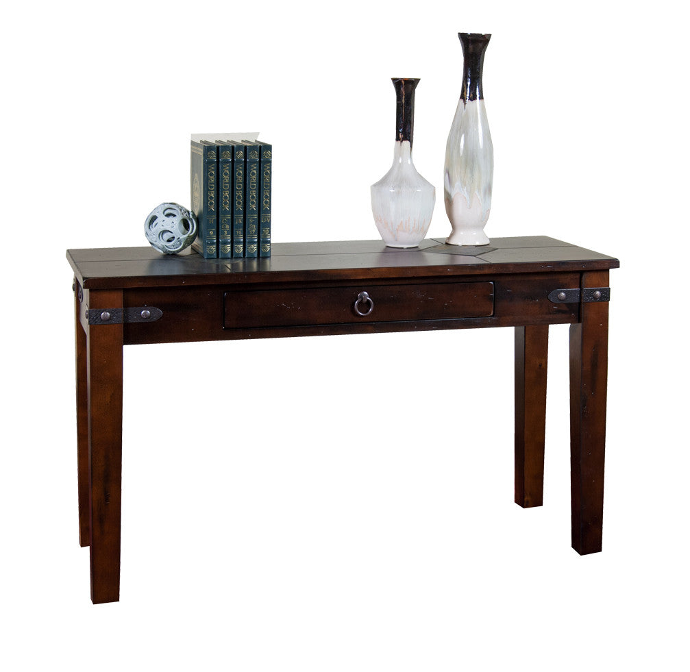 SD-3160DC-S - Santa Fe Rustic Birch Sofa Table with Slate Inlay Top - Oak For Less® Furniture