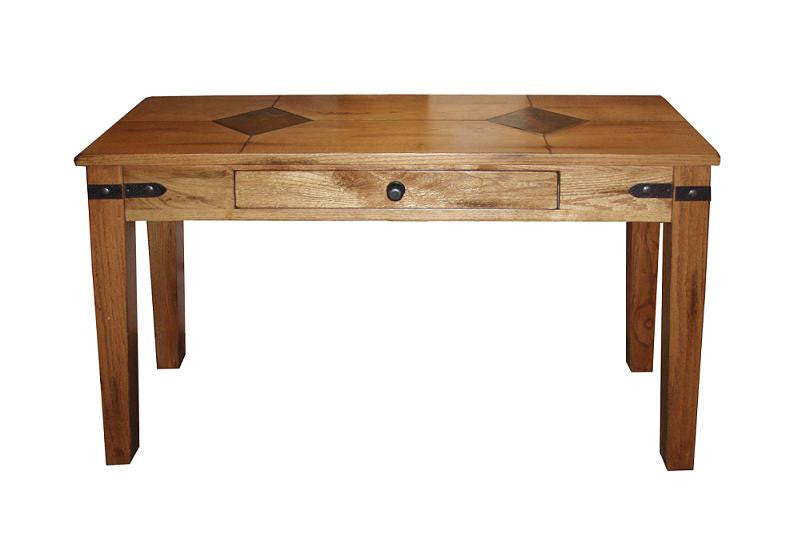 SD3160ROS Rustic Oak Sofa Table with Slate Inlay Top