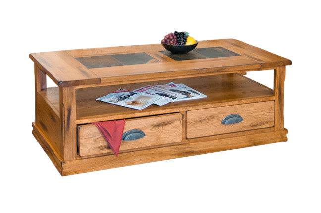SD3163ROC Sedona Rustic Oak Coffee Table with Slate Inlay Top