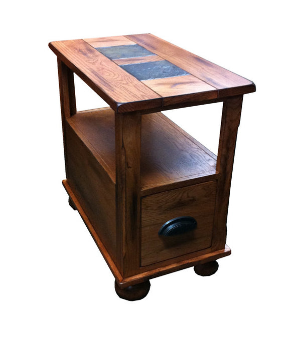 SD-3163RO-CS - Sedona Rustic Oak Chairside Table with Slate Inlay Top - Oak For Less® Furniture