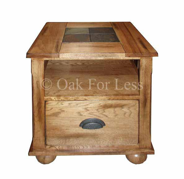 SD3163ROE Sedona Rustic Oak End Table with Slate Inlay Top