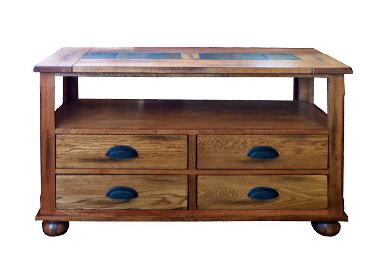 SD-3163RO-S - Rustic Oak Sofa Table with Slate Inlay Top - Oak For Less® Furniture