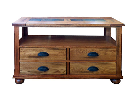 SD-3163RO-S Rustic Oak Sofa Table with Slate Inlay Top