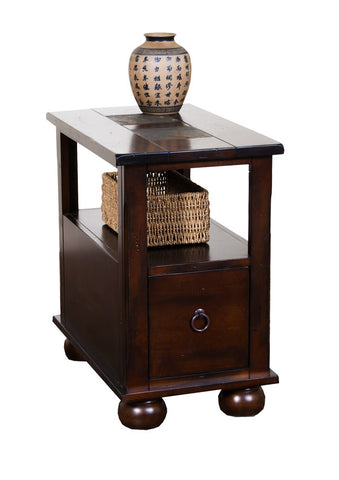 SD 3164DC CS   Santa Fe Rustic Birch Chairside Table With Slate Inlay Top
