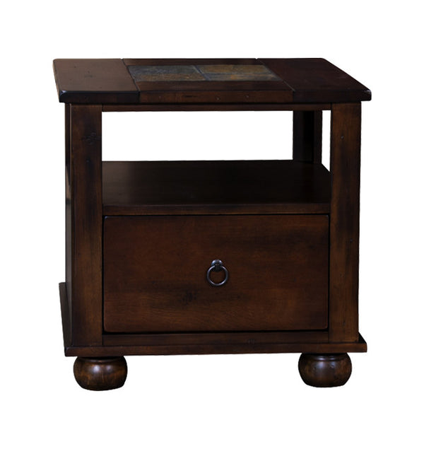 SD-3164DC-E - Santa Fe Rustic Birch End Table with Slate Inlay Top - Oak For Less® Furniture