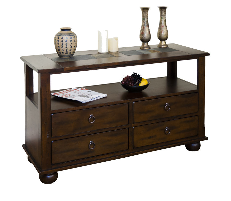 SD-3164DC-S - Santa Fe Rustic Birch Sofa Table with Slate Inlay Top - Oak For Less® Furniture