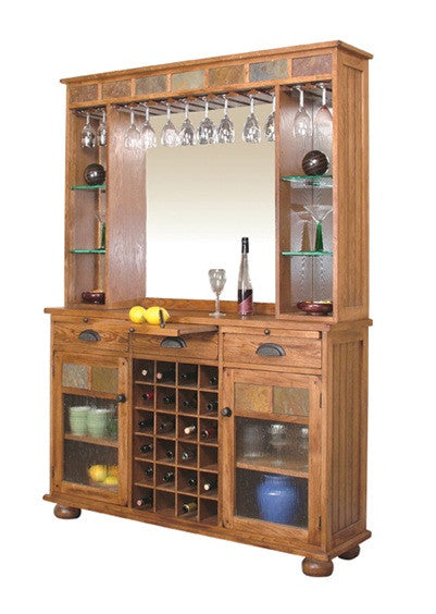 "SD-2413RO - 55"" Sedona Rustic Oak Back Bar Hutch and Server - Oak For Less® Furniture"