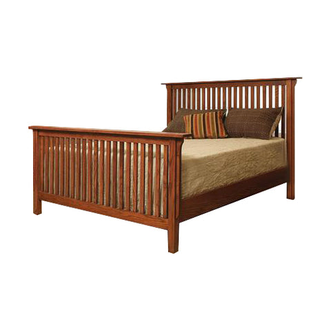 "American Mission Quarter Sawn Oak Slat Bed with 32"" Tall Slat Footboard - Full Size - Oak For Less® Furniture"