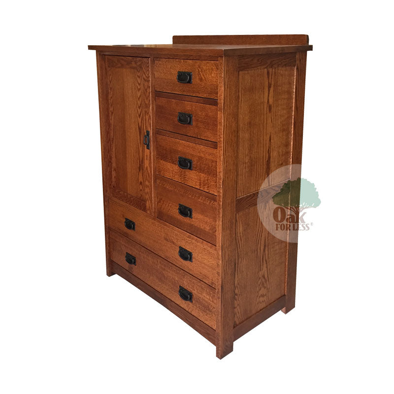 American Mission Quarter Sawn Oak 6 Drawer Chest with 1 Door
