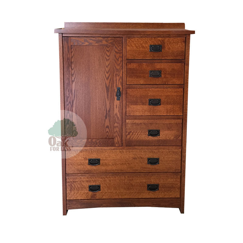 American Mission Quarter Sawn Oak 6 Drawer Chest with 1 Door - Oak For Less® Furniture