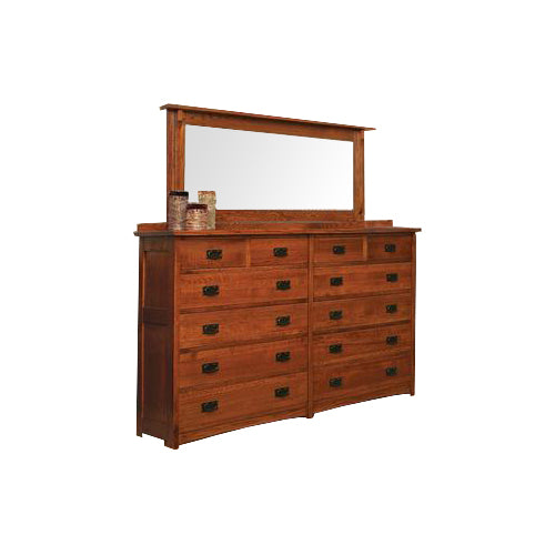 American Mission Quarter Sawn Oak 12 Drawer Dresser with Beveled Mirror - Oak For Less® Furniture
