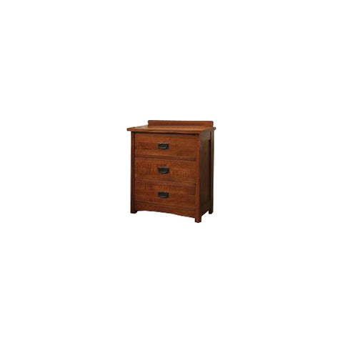 American Mission Quarter Sawn Oak 3 Drawer Nightstand