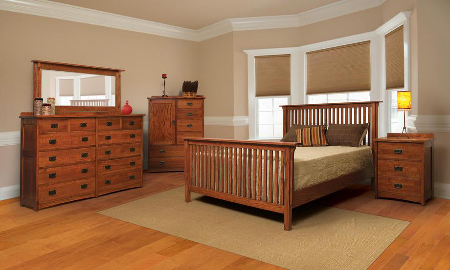 Mission Quartersawn Oak Rake Bedroom Suite - Queen Size