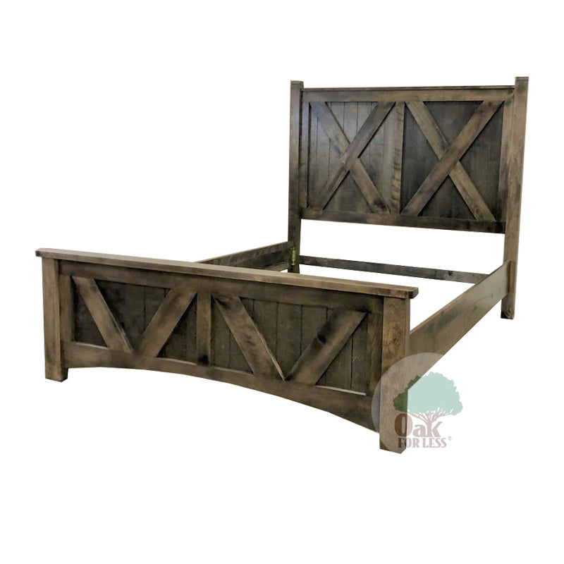 Bench Built Panel Bed in Birch - Full Size - Oak For Less® Furniture