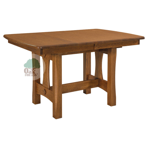 Amish made Sheridan Trestle Table in Solid Oak - Oak For Less® Furniture