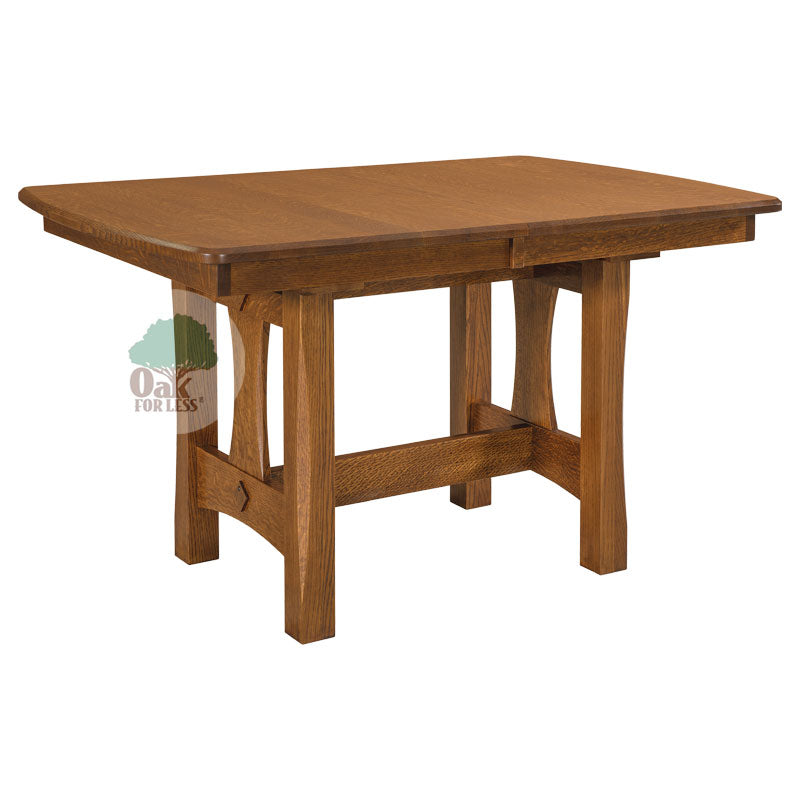 Amish made Sheridan Trestle Table Set in Solid Oak - Oak For Less® Furniture
