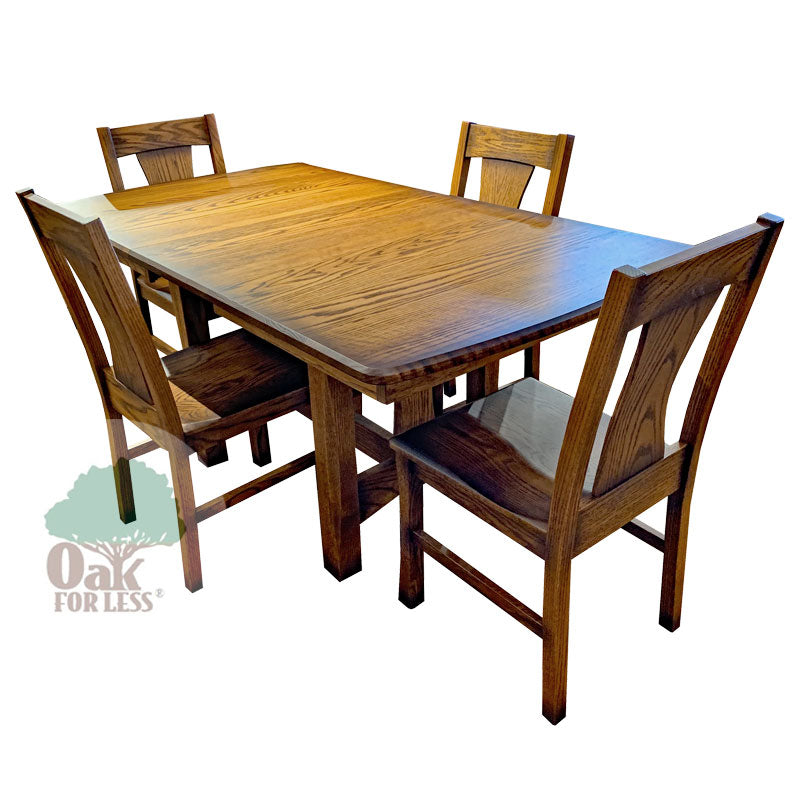 Amish made Sheridan Trestle Table Set in Solid Oak