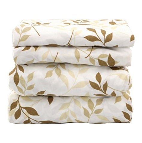 Beige Taupe Leaves Sheet Set - jaycorner.com