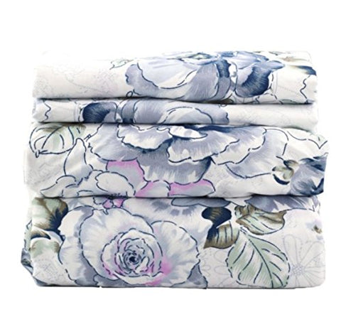 Gray Blue Floral Sheet Set - jaycorner.com