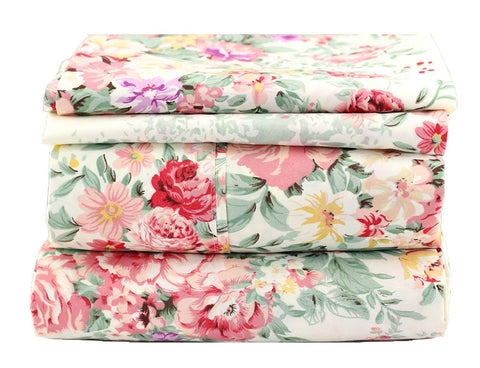 Cottage Floral on Ivory Sheet Set - jaycorner.com
