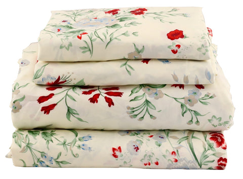 Red & Blue Garden Floral Sheet Set - jaycorner.com