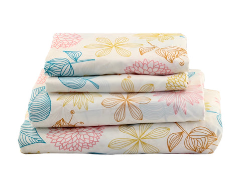 Pink Yellow Floral Sheet Set - jaycorner.com