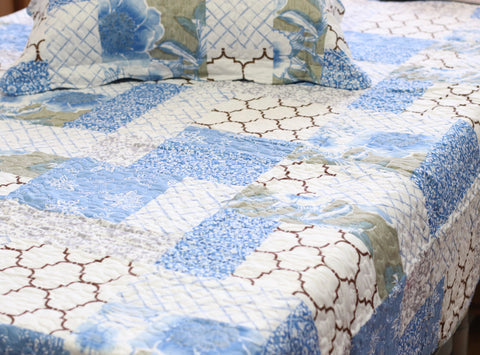 Blue Patchwork Quilt Coverlet Set - jaycorner.com