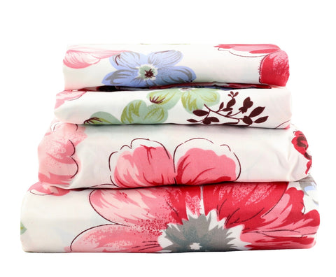 Red & Blue Floral Sheet Set - jaycorner.com