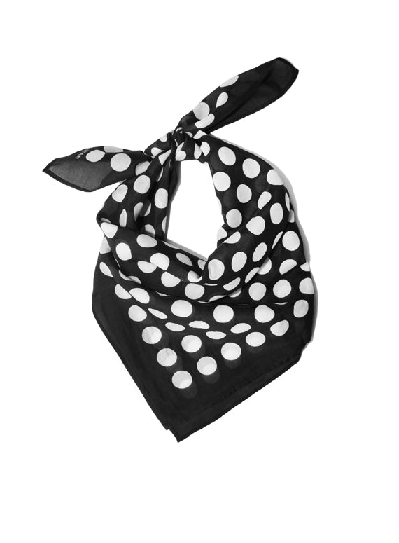 Large Neckerchief - Black & White Polka Dot
