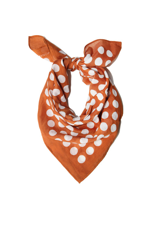 Large Neckerchief in Honey & White Polka Dot