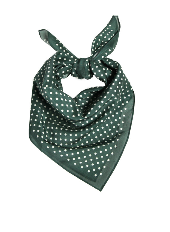 Large Neckerchief - Green Polka Dot
