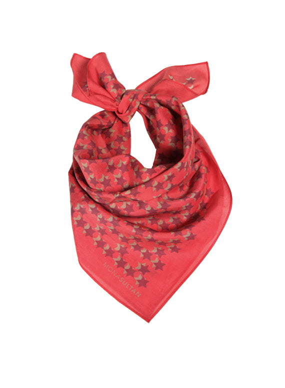 Large Neckerchief - Maroon & Red Star