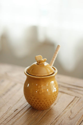 Golden Ceramic Honey Jar